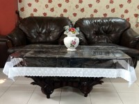 Katwa Clasic Clear Transparent With Lace Border Center 2 Seater Table Cover White, PVC