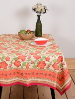 Ocean Collection Gold-1 Flower Print Table Cover (Red, Pack Of 1)