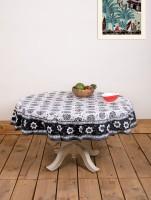 Ocean Collection Kadamba-3528-H Flower Print Table Cover (Black, White, Pack Of 1)
