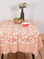 Ocean Home Store Floral 6 Seater Table Cover Orange, Cotton - TCVE9YDZGHG4EQCS