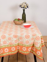 Ocean Collection Kadamba 3528 A Flower Print Table Cover (Orange, Pack Of 1)