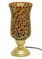 Asaura Mosaic Glass Chimney Table Lamp (32 Cm, Matt Gold)