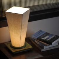 ExclusiveLane Conical Wooden Engraved Table Lamp (33 Cm, Green)