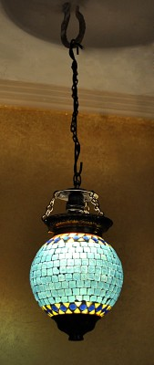 Lal Haveli Decorative Mosaic Art Polka Dots Glass Ceiling Lamp (33 Cm, Blue)