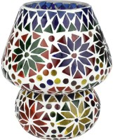 EarthenMetal Handcrafted Colourful Design Mosaic Glass Table Lamp (16 Cm, Multicolor, White)