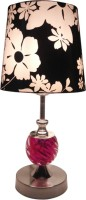 Diya Designs Pink Chrome With Black And White Shade Table Lamp (30 Cm, Multicolor)