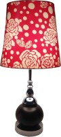 Diya Designs Wood And Chrome Finish With Dimmer And Red & White Shade Table Lamp (30 Cm, Multicolor)