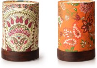 ExclusiveLane Set Of 2 Shesham Wooden Decorative Table Lamp (19 Cm, Multicolour) - TLPEG338FHNGQARY