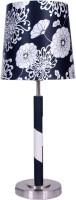 Diya Designs Black & White Designer With Chrome Finish Base Table Lamp (32 Cm, Multicolor)