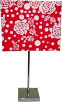 Diya Designs Silver Chrome Finsh With Dimmer And Red &White Shade Table Lamp (32 Cm, Multicolor)