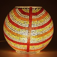 EarthenMetal Handcrafted Mosaic Decorated Circular Glass Table Lamp (24 Cm, Yellow, Multicolor)