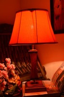 Yashasvi Yashasvi Orange Bongatic Wooden Table Lamp Table Lamp (45 Cm, Orange)