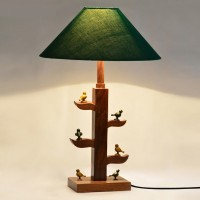 ExclusiveLane Wooden Engraved Parrots Sitting On Tree Of Life Table Lamp (42.418 Cm, Green, Brown)