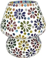 EarthenMetal Handcrafted Colourful Flowers Desgin Mosaic Glass Table Lamp (16 Cm, Multicolor, White)
