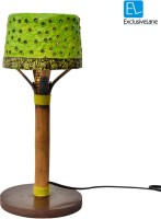 ExclusiveLane 16 Inch Papier Mache Perforated Tree With Henna Work Table Lamp (15.9 Inch, Green, Brown)