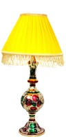E-Handicrafts Gold Meena Art Table Lamp (50 Cm, Gold, Multicolour)