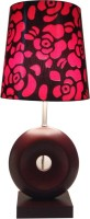 Diya Designs Brown Wood With Dimmer And Red & Black Shade Table Lamp (30 Cm, Multicolor)