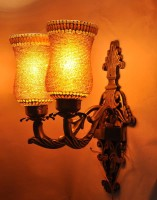 Gojeeva Antique Finish Aluminium Base 2 Class With Beads Work Night Lamp (40 Cm, Brown)