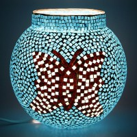 EarthenMetal Handcrafted Butterfly Design Blue Coloured Mosaic Decorated Circular Glass Table Lamp (18 Cm, Blue, Multicolor)