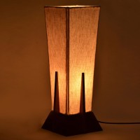 ExclusiveLane Sheesham Wooden Pyramid Table Lamp (35.56 Cm, Brown, Cream)