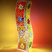 EarthenMetal Handcrafted Colourful Mosaic Design Curvy Glass Table Lamp (35 Cm, Red, Yellow)