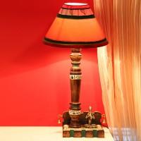 ExclusiveLane Wooden Handcrafted Warli Art & Dhrokra Figurines Table Lamp (39.37 Cm, Brown, Red)
