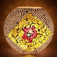 EarthenMetal Handcrafted Mosaic Decorated Circular Glass Table Lamp (24 Cm, White, Yellow)