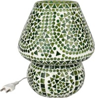 EarthenMetal Handcrafted Green Coloured Crystal Dome Shaped Glass Table Lamp (17 Cm, Green, White)