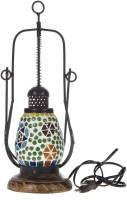 Smile2u Retailers Rajasthani Stone Mosaic Worked Table Lamp (32 Cm, Multicolor)