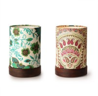 ExclusiveLane Set Of 2 Shesham Wooden Decorative Table Lamp (19 Cm, Multicolour) - TLPEG338YYMXUTAA