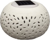 Max Era Solar Ceramic Filigree Design Color Changing Led Table Lamp (12 Cm, White)