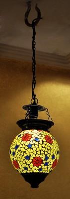 Lal Haveli Decorative Mosaic Art Polka Dots Glass Night Lamp (33 Cm, Green)