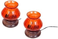 Onlineshoppee Wooden & Iron Hand Carved Electric Chimney Lamp Table Lamp (14 Cm, Orange)