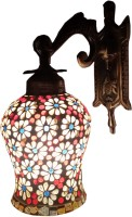 Weldecor Antiua Brasso Floral Polka Dots Stars Wall Lamp (30 Cm, Multicolor)