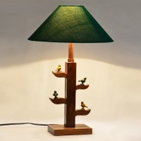 ExclusiveLane Tree Of Life Lamp With Parrots Sitting On It Table Lamp (16.7 Inch, Green, Brown)