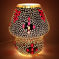 EarthenMetal Handcrafted Polka Design Decorated Dome Shaped Glass Table Lamp (24 Cm, White, Multicolor)