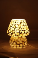 Glitz Tiffany Hand Made Ethnic Style (Mother Of Pearl) Table Lamp (16 Cm, White)