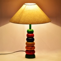 ExclusiveLane Multicolored Wooden Engraved Hoopla Table Lamp (32.4 Cm, Multicolor)