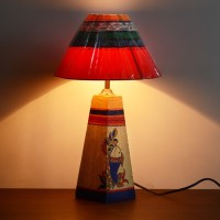 Unravel India Wooden Handpainetd Multicolored Table Lamp (58.42 Cm, Multicolor)