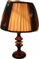 Gojeeva Fabric And Wooden Base Table Lamp (50 Cm, White, Brown)