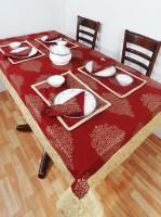 Heritagefabs Goldline Organic Cotton Table Linen Set Maroon, Pack Of 13