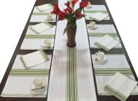 Milano Home Green, White Organic Cotton Table Linen Set Pack Of 13