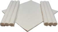HOME COLORS White Organic Cotton Table Linen Set Pack Of 7