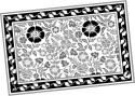 Ocean Collection Linen Flower Block Print Table Placemat - Pack Of 4