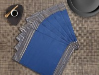 Dekor World Rectangular Pack Of 6 Table Placemat Blue, Polyester