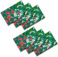 Sej By Nisha Gupta Rectangular Pack Of 6 Table Placemat Green, Cotton