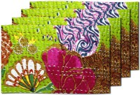 MeSleep Green Kantha Table Placemat (Pack Of 4)