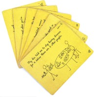 PoppadumArt Rectangular Pack Of 6 Table Placemat Yellow, MDF
