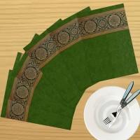 Dekor World Zari Floral Brocket Pack Of 6 Table Placemat Green, Polyester