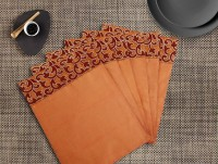 Dekor World Rectangular Pack Of 6 Table Placemat Peach, Polyester